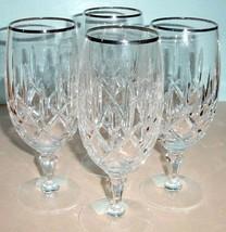 Gorham Lady Anne Platinum Iced Beverage SET/4 Crystal 14.5oz Germany 438... - $154.90