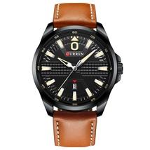 Curren Men's Leather Quartz Wrist Watch 8379 (Brown & Black) - $27.90