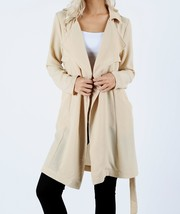Taupe Woven Trench Coat with Waist Tie, Lightweight Trench,Trench Coat Women