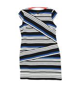 ILE New York Womens Dress Black White Blue Striped Size 14 - $24.70