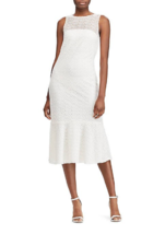 NEW RALPH LAUREN WHITE LACE MIDI FLARE DRESS SIZE 14 $180 - $84.99