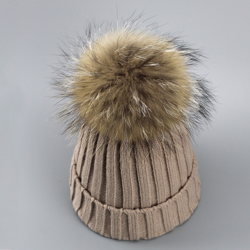 d269aa8a9ea Real Fur Winter Hat Raccoon Pom Pom Hat For Women Brand Thick Women Hat  Girls Caps Wholesale Knitted ...