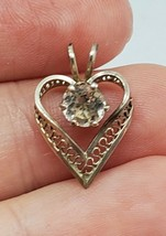 Vintage Sterling Silver Filigree Heart Clear Glass Paste Pendant - $16.00