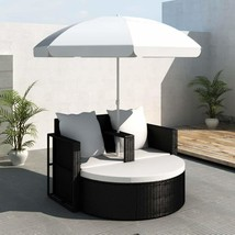 Outdoor Double Rattan Sofa Bed Lounge Chair Set with Umbrella Sun Shade ... - $299.99