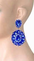 "3.25"" Long Cluster Clip On Earrings Royal Blue Rhinestones Drag Queen Pageant - $18.95"