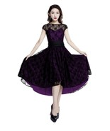 Black Lace Rockabilly Dovetail Retro 1950s Swing Dress Vintage 50s Pin U... - $53.46