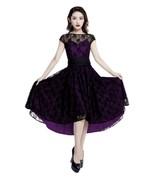 Black Lace Rockabilly Dovetail Retro 1950s Swing Dress Vintage 50s Pin U... - $57.51