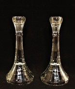 Clear Glass Candlesticks Vintage Candle Holders 8 inches Tall Estate Sal... - $37.62