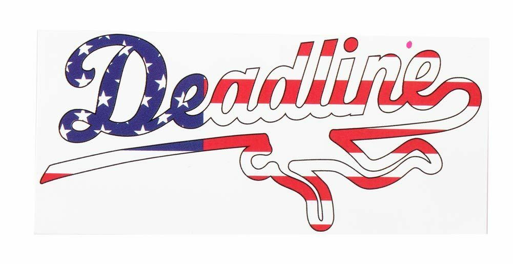 Deadline USA Flag Red White Blue Stars Vinyl Skateboarding Peel Sticker 2.5x5.5