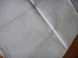 Large vintage antique Irish linen damask hand towel Celtic clover tea dish 40X17 image 3