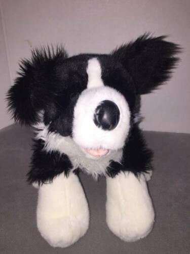 "Build A Bear Black White Border COllie Stuffed Animal Plush Toy 17"""