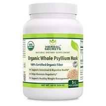 Herbal Secrets USDA Certified Organic Psyllium Husk 16 Oz Non-GMO- Vegan, Dairy