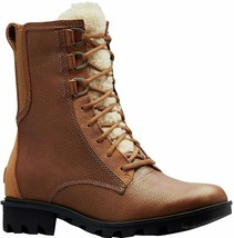 Sorel Phoenix Lace Shearling Boot in Camel Brown Leather, Sz 7, NIB! - $103.94