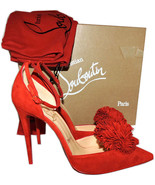 Christian Louboutin Tsarou Pom Ankle Strap Red Suede Pumps Shoes 38 - $526.31
