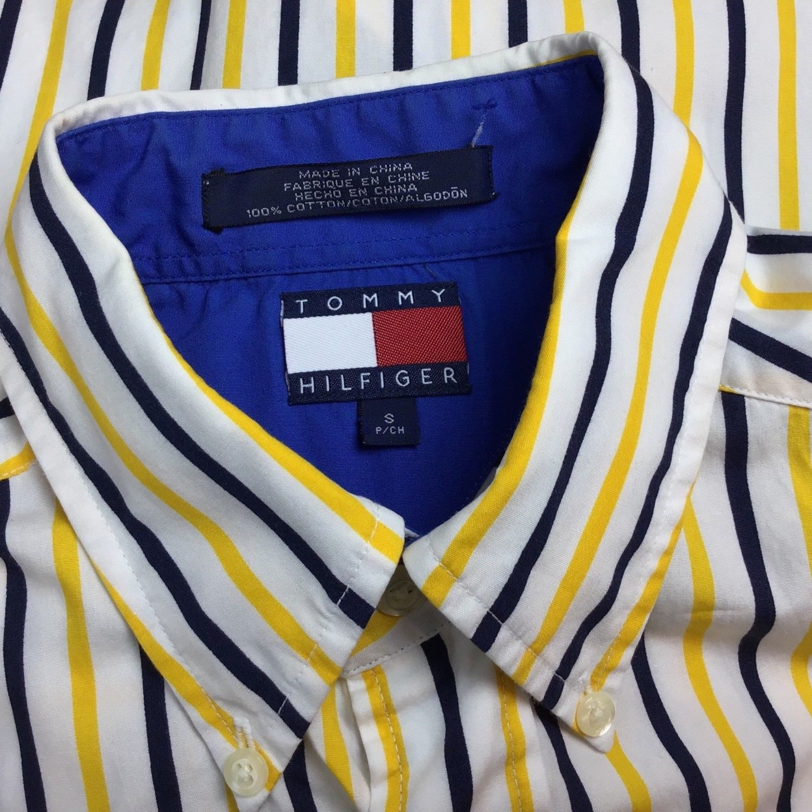 Tommy Hilfiger Mens Size S Shirt Button Front Long Sleeve Flag Logo Stripe A3-7 image 4