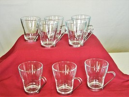 8 Espresso Coffee Cups - Clear Glass with Metal Details - 6 oz - Made in... - $16.15