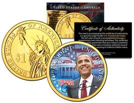 BARACK OBAMA * 44th President * Presidential $1 Dollar U.S. Coin 24K Gol... - $8.86