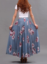 FLORAL Chiffon Long Skirt Dusty Blue Flower Silk Chiffon Skirt Summer Wedding  image 6