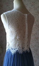 Two Piece Bridesmaid Dress Dusty Blue Tulle Maxi Skirt Crop Lace Top image 7