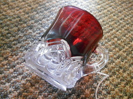 Old Vintage or Antique Souvenir Ruby Red Crystal Glass Cup Rochester Min... - $24.99