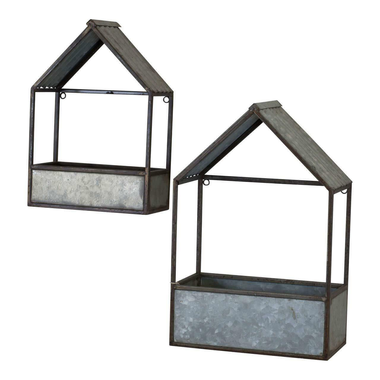 Set of 2 House Shaped Metal Planters Assorted Sizes Wall Mounted or Sitting