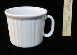 Corning Ware Large Soup Mug Cup Bowl White Stoneware w/ Handle Ribbed Design - $9.85