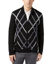 Alfani, Men's, Pattern Zip-Front Cardigan, Deep Black, Sz. Small - $33.96
