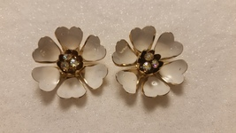 Vintage Coro White Enamel Earrings With Aurora Borealis Prong Stones 413... - $19.99