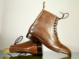 Handmade Men's Brown Leather Cap Toe High Ankle Lace Up Boots image 3