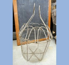 """antique WIRE EGG GATHERING BASKET w/HANDLES FARM/CHICKENS easter 8 x 8"""" - $175.00"""