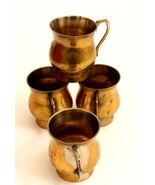 Antique set of 4 cups indian brass decorative collectible mugs old colle... - $64.05