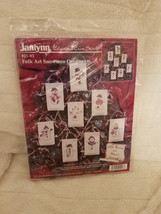 Janlynn Folk Art Snowmen Ornaments #21-93 Christmas Cross Stitch Kit 1997  - $19.30