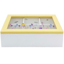 BUSY BEE FLORAL WHITE YELLOW 6 COMPARTMENT TEA BAG BOX CADDY CONTAINER K... - $19.40
