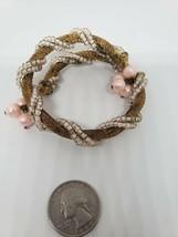 Womens Vintage 1950s Gold Toned Mesh Bracelet/Bangel Pink Cotton Beads - $14.85