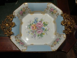 EXQUISITE LRG EXTREMELY RARE FRENCH LIMOGES BLUE & WHITE HANDPAINTED FLO... - $879.25