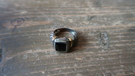 Vintage Sterling Silver Gold Onyx Ring Size 4.75 - $23.76