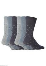 6 Pairs Mens Gentle Grip Socks Size 6-11 Uk, 39-45 Eur MGG19 Blue Spots - $13.81