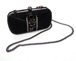 Black Beaded Bead Silver Accent Clutch Handbag Purse Chain Strap Mossimo... - $15.83