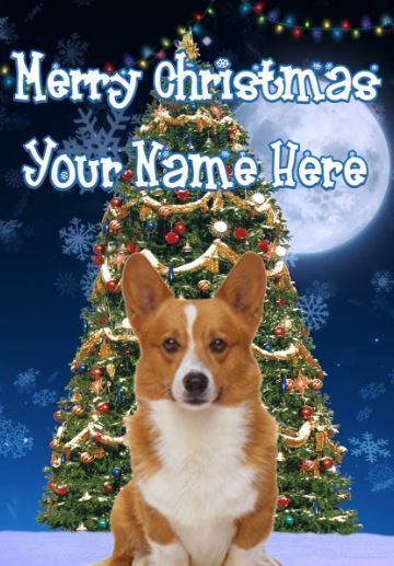 Corgi Puppy Dog Personalised Greeting Card Xmas codeTM162