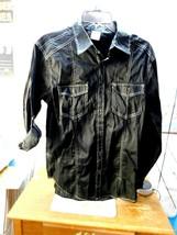 Rustic Blue Men's Long Sleeve Button Up Shirt Medium M Black Denim White... - $13.85
