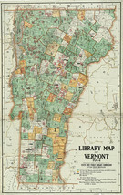 1914 Library Map of Vermont Librarian Teacher Curator Gift Ideas Libraries Print - $13.00+