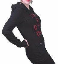 """In Gods Hands """"Love Me if You Dare"""" Maybille Black Fleece Hoodie NWT image 3"""