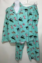 Nordstrom Intimates Womens XL Flannel Pajama Set Mint Green Skating Dogs - $43.61