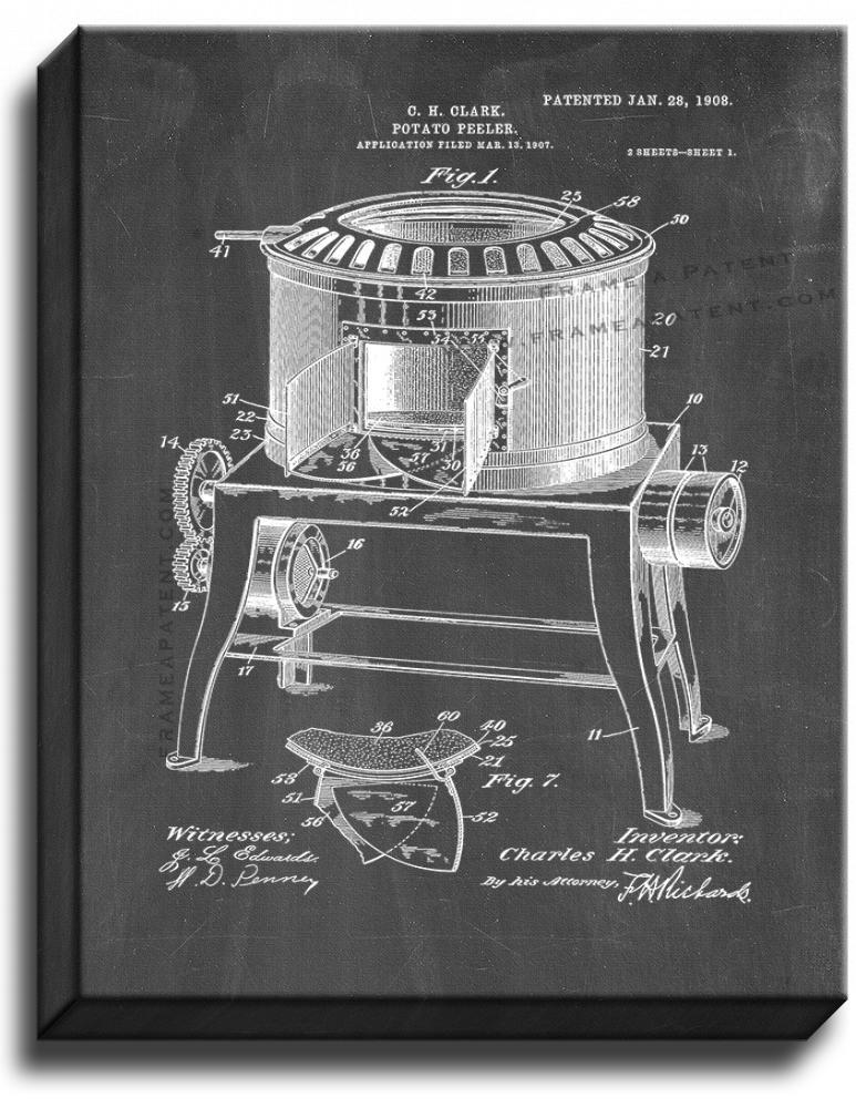 Primary image for Potato-peeler Patent Print Chalkboard on Canvas