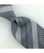 "CHANEL Tie Monogram Italy 60"" Lg Striped Grenadine Knit Necktie Gray Tie... - $197.99"