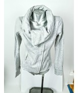 Lululemon Karmacollected Gray Jacket Size 6 Cowl Offside Zip Neck Snap  - $69.99