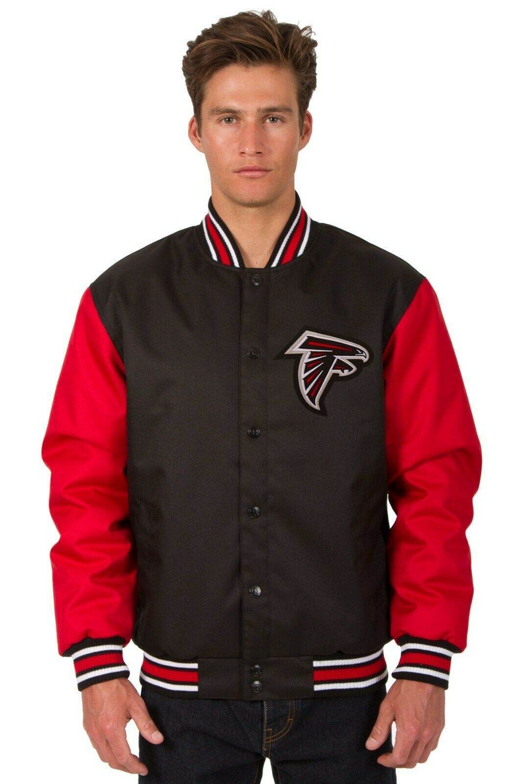 NFL Atlanta Falcons Poly Twill Jacket Black Red Patch Logo JH Design - $99.99