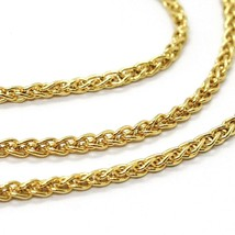 18K YELLOW GOLD CHAIN SPIGA EAR BRAIDED LINK 2 MM, 24 INCHES, 60 CM, ITALY MADE image 2