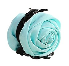 Beautiful Satin Artificial Rose Flower Hair Claw Clips Ponytail Jaw Clips, Sky B