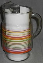 1950s-80s Vintage Original 80 oz GLASS PITCHER Colorful Stripes - $23.75